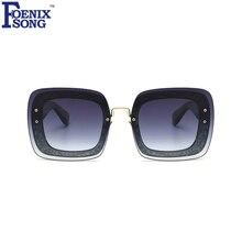 FOENIXSONG Mujeres Fashion Square gafas de Sol de Marco Leopardo de Las Señoras Gafas de Sol de Diseñador de la Marca gafas de Sol Oculos Mujer Feminino