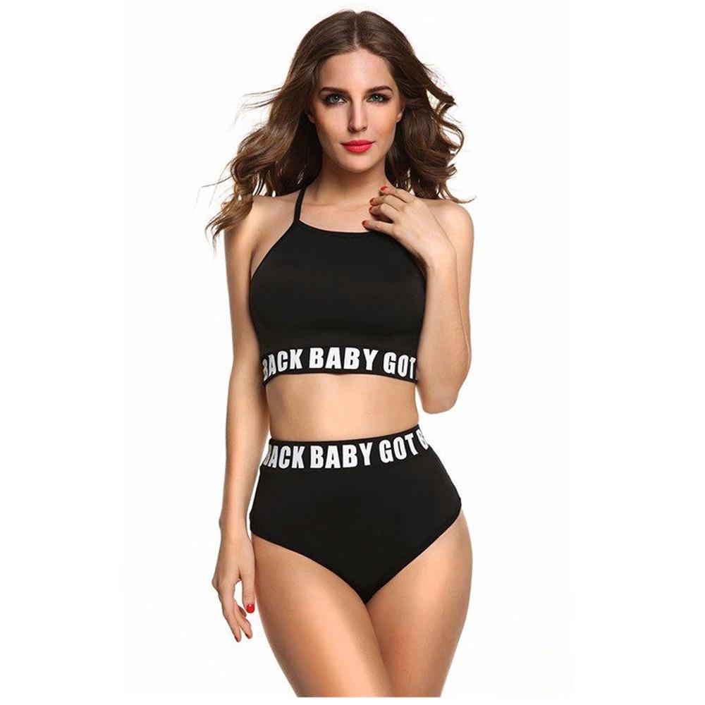 2019 High Waist Bikini Crop Top Bikinis Letter Bikini Set Women Sport Suit Swimsuit Black Junior Swimming Beachwear Bathing Suit