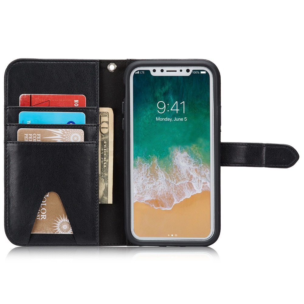 For IphoneX 10 Ten Case BRG 2 In 1 Magnetic Multifunction PU Leather Wallet Case for Iphone X 5.8 Phone Case Purse With Stand