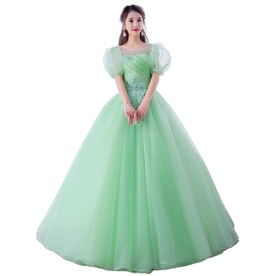 freeship light green pink bubble sleeve cosplay ball gown Medieval Renaissance Gown cosplay Victoria dress Marie