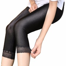 DOUBCHOW 2018 Womens Elastic High Waist Sexy Skinny Capris Lengging Pants Solid Black Maiden Capris With Lace Plus Size S-5XL