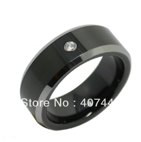 USA Hot Selling His/Her Best Black Tungsten Ring Shiny Edge With White Stone New Wedding Band With Free Gifted Box&Free Shipping usa trunature ginko biloba with vinpocetine 120 mg 300 softgels bottle free shipping