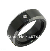 USA Hot Selling His/Her Best Black Tungsten Ring Shiny Edge With White Stone New Wedding Band With Free Gifted Box&Free Shipping