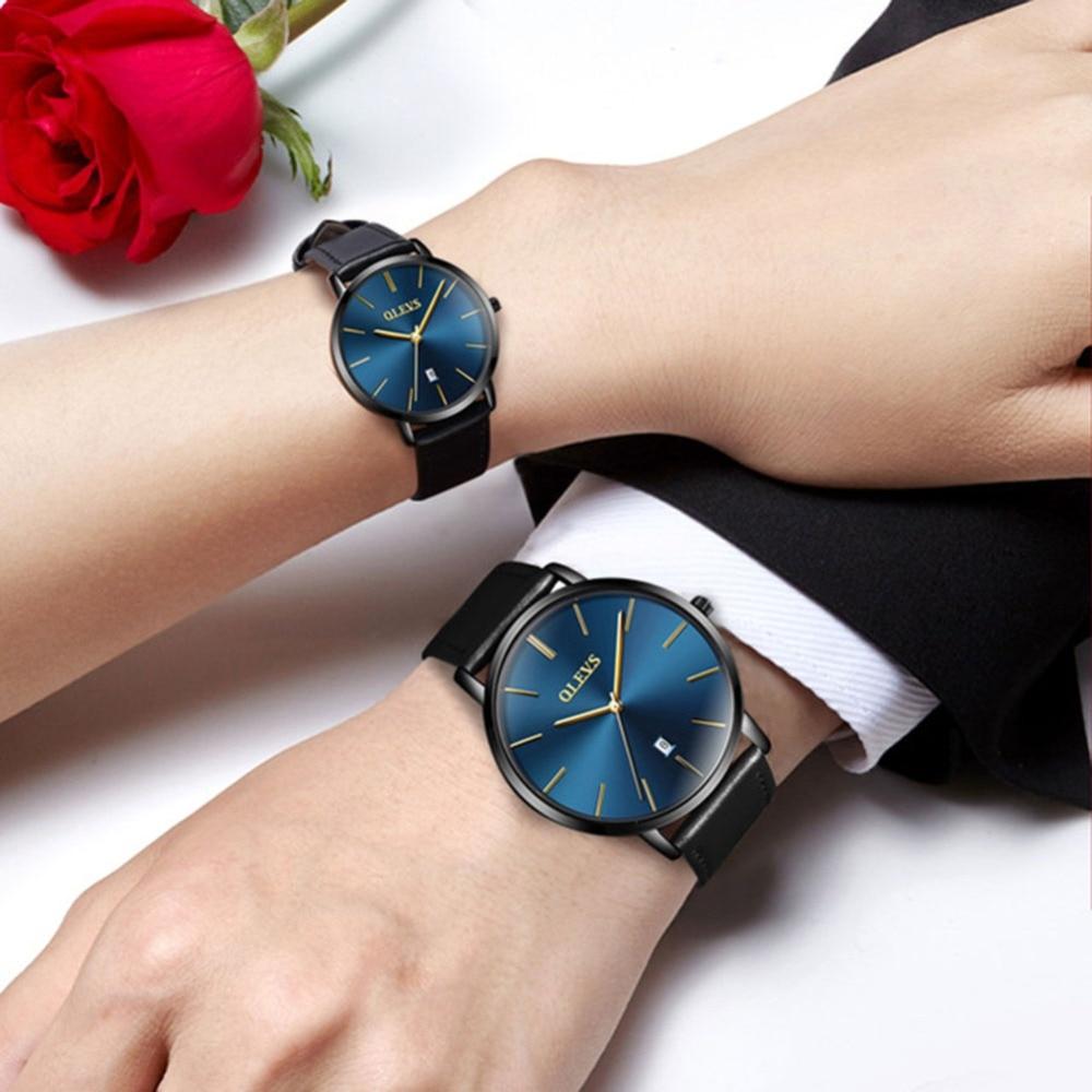 OLEVS New Ultra thin Lovers Watch Women Leather Quartz Coupl