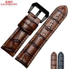 LaopijiangRough natural piel de becerro de los hombres fit PAM111 | 00292 | 386 | 312 hebilla 24mm azul marrón