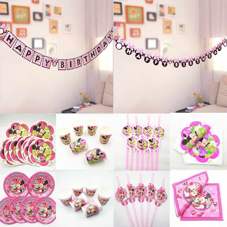 Minnie Mouse Party Banner Disposable Supplies Festival Favors Baby Shower Girls Birthday Party Decoration kit