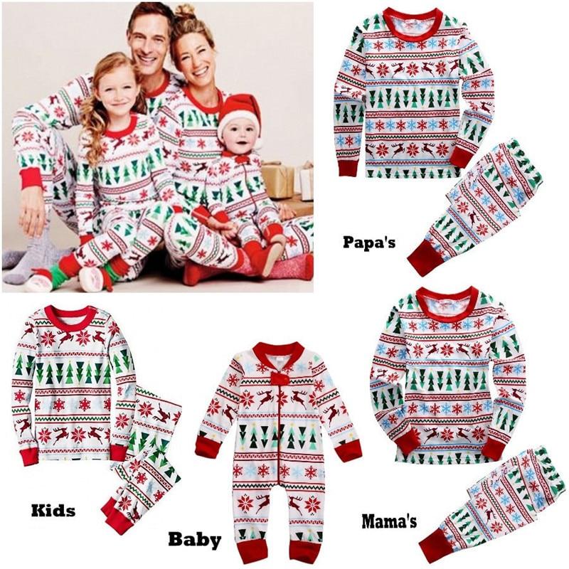 Hot Family Matching Christmas Family Pajamas Set Snowflake Tree Printed Adult Baby Kids Long Sleeve Nightwear Pyjamas Costume