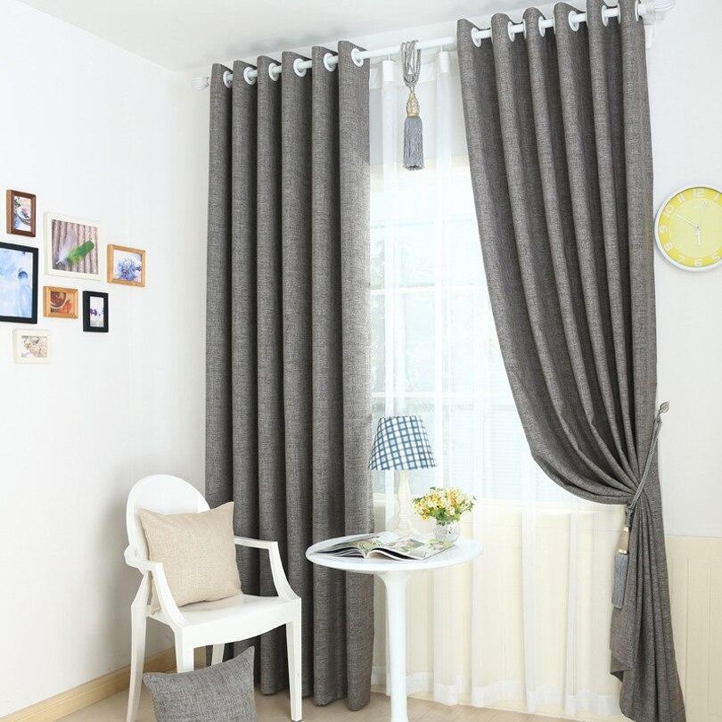 Grey Beige High Grade Linen Full Blackout Curtain For