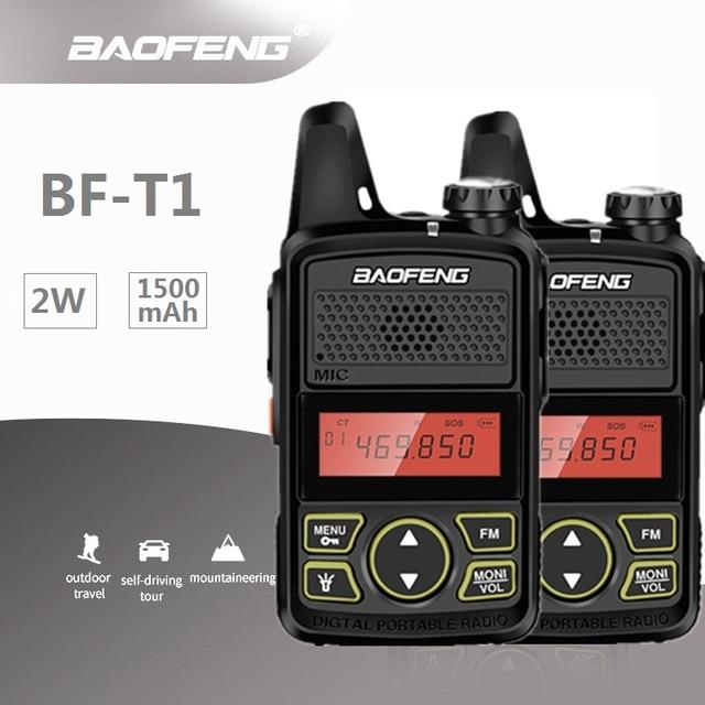 2 قطعة Baofeng Mini T1 UHF راديو BF T1 اتجاهين راديو هام جهاز الإرسال والاستقبال اللاسلكي FM CB راديو لمطعم فندق الحلاق