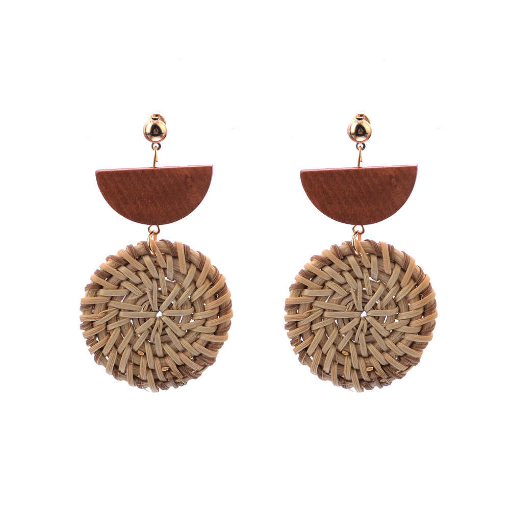 2019 โบฮีเมีย Handmade ไม้หวายฟางสานต่างหูแฟชั่นเรขาคณิตรอบ Dangle ต่างหูเครื่องประดับของขวัญหญิงของขวัญ