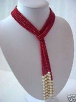 J0035 Charming Red Coral & White Pearl Scarf Necklace