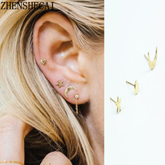 3 units/set Fashion Jewelry for women star moon stud earring punk style  Europe and America street ear jewelry wholesale