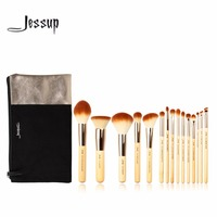 Jessup Brand 15pcs Beauty Bamboo Professional Makeup Brushes Set T140 Cosmetics Bags Women Bag CB002