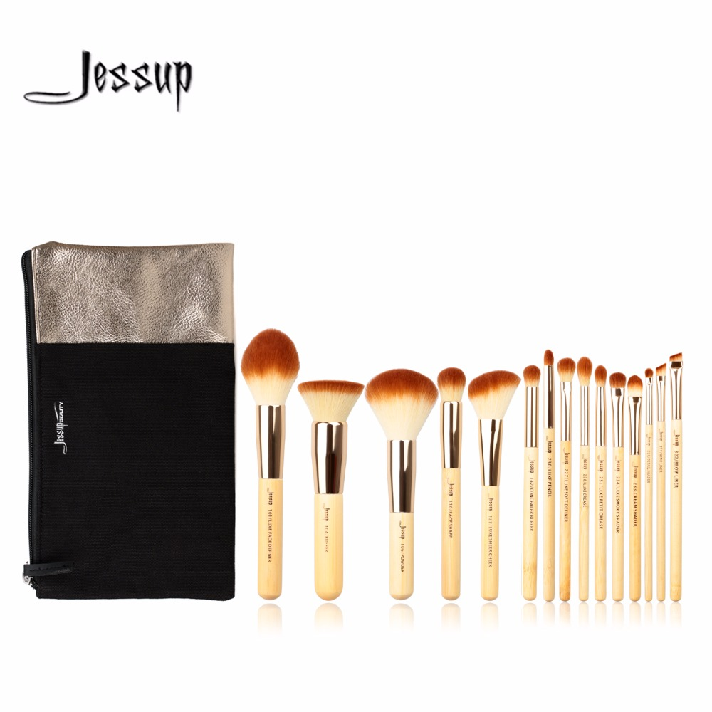 Jessup Brushes Brand 15pcs Beauty Bamboo Professional Makeup Brushes Set Cosmetics Bags T140&CB002