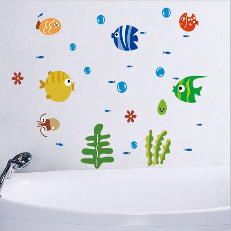 Cheap Small Fish Bathroom Wall Sticker Waterproof Home Decor Pool Wall Decal Toilet Mural For Baby