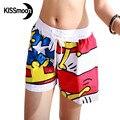 KISSyuer parkour Garabato de secado rápido bañadores mujeres shorts de baño de tela escocesa pentagrama pareja playa junta shorts KBS1013