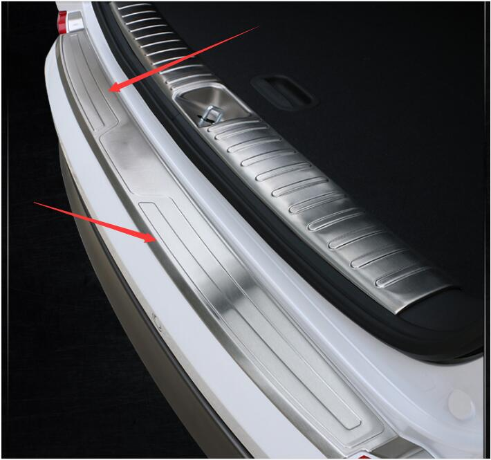 car-styling case For Hyundai Tucson 2015 2016 Stainless Steel Rear Bumper Protector Sill Plate 1pcs car styling accessories for hyundai tucson 2015 2016 2017 2018 car inner inside rear back bumper trim stainless steel scuff sill trunk plate pedal 1pcs