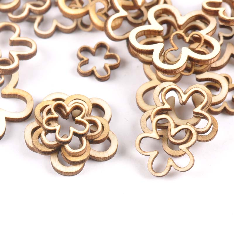 50pcs 15-30mm Hollow Flower Shape Wood For Scrapbooking Handmade DIY Carfts Wooden Embellishment Home Decor Orname M2179