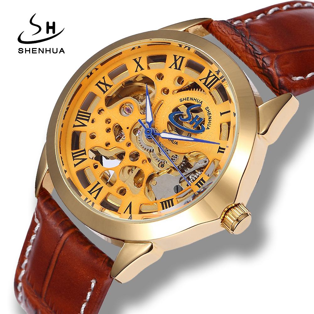 Shenhua 2018 New Luxury Skeleton Gold Automatic Watch Men Fashion Leather Watchband Mechanical Self Winding Colck Wrist Watches fouriers bicycle handlebar for stem front cap compatible with garmin edge
