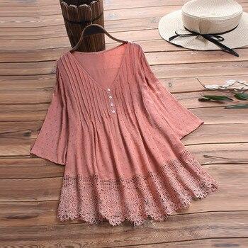 Summer Solid Blouse Plus Size S-5XL Women Vintage Jacquard Three Quarter Lace V-Neck Button Top Blouse Wholesale N4 4