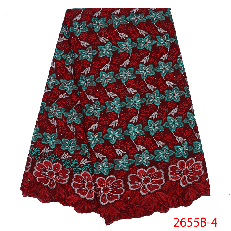 Hot Sale Swiss Voile Laces African Embroidered Cotton Lace Fabric With Stones Swiss Voile Lace In Switzerland KS2655B-4