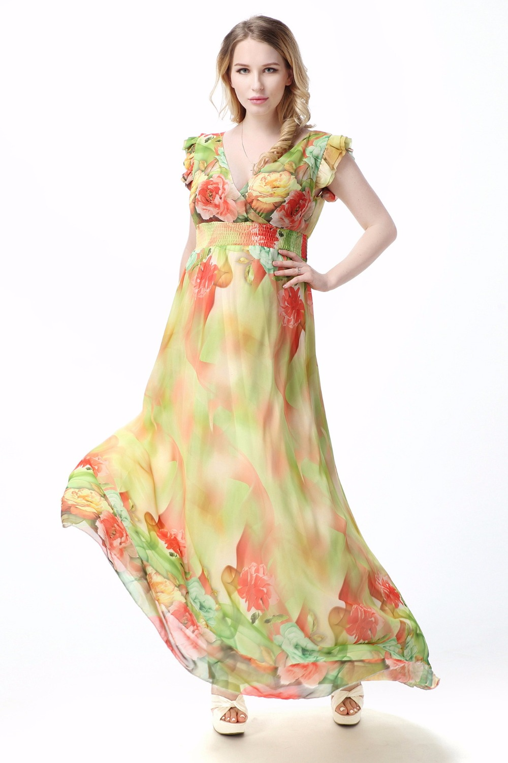 US $23.73 5% OFF Boho Style Plus Size Women Maxi Dress Chiffon Floral Print  short Sleeve Summer Dress-in Dresses from Women\'s Clothing on ...