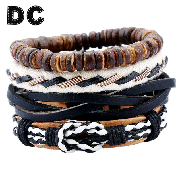 Dc 2017 Newest Fashion Men Leather Bracelets Rope Weave Bracelet Clic Punk Adjule Hand
