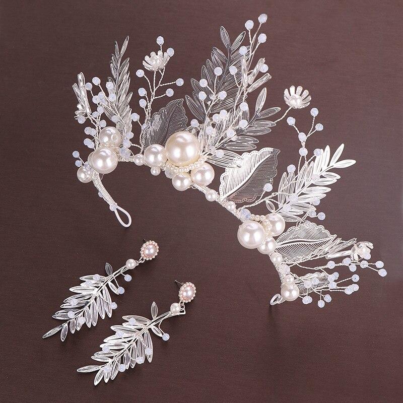 New Big Pearl Crown Leaf Crystal Bridal Exquisite Luxury Princess Hair Accessories Wedding Decoration
