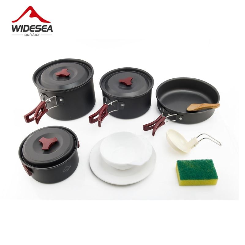 Widesea 4-5 pepoles Camping Panelas conjunto de cozinha conjunto de Piquenique Talheres de viagem ao ar livre Mochila Bacia Pot Pan utenils talheres