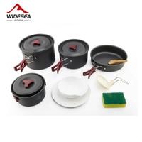 4 5 Pepoles Camping Hiking Cookware Tableware Picnic Backpacking Cooking Bowl Pot Pan Cooker Set