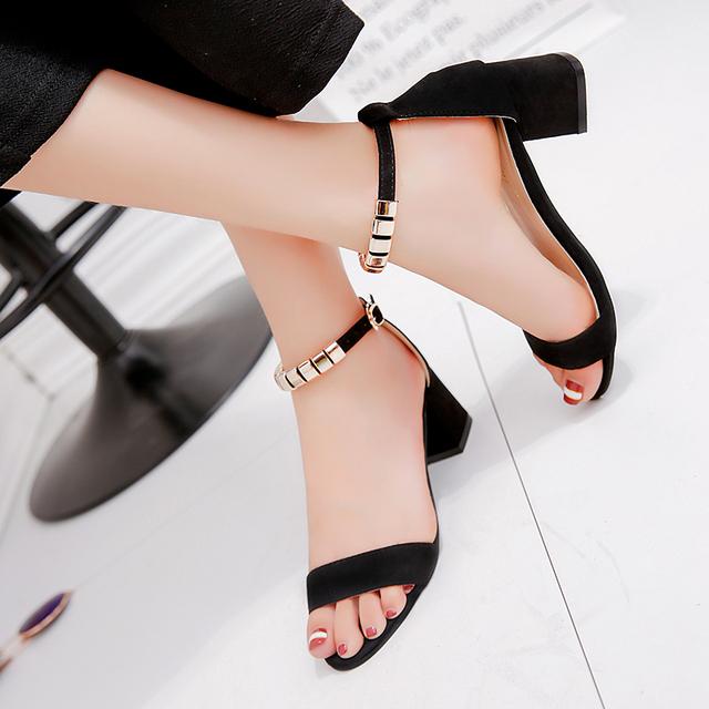 metal String Bead Summer Women Sandals Open Toe shoes Women's Sandles Square heel Women Shoes Korean Style Gladiator Shoes m668