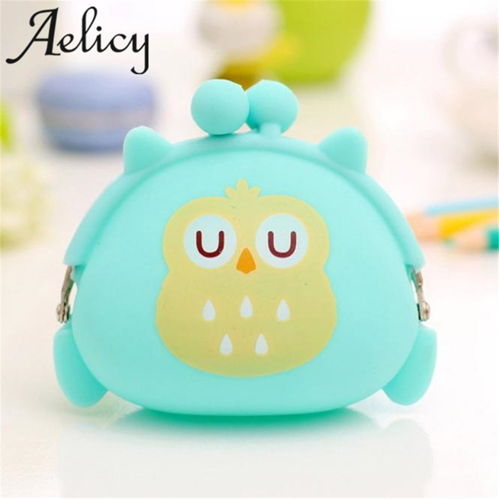 Aelicy 2018 Hot New Fashion Light High Quality Women Girls Owl Silicone Jelly Wallet Change Bag Key Pouch Coin Purse
