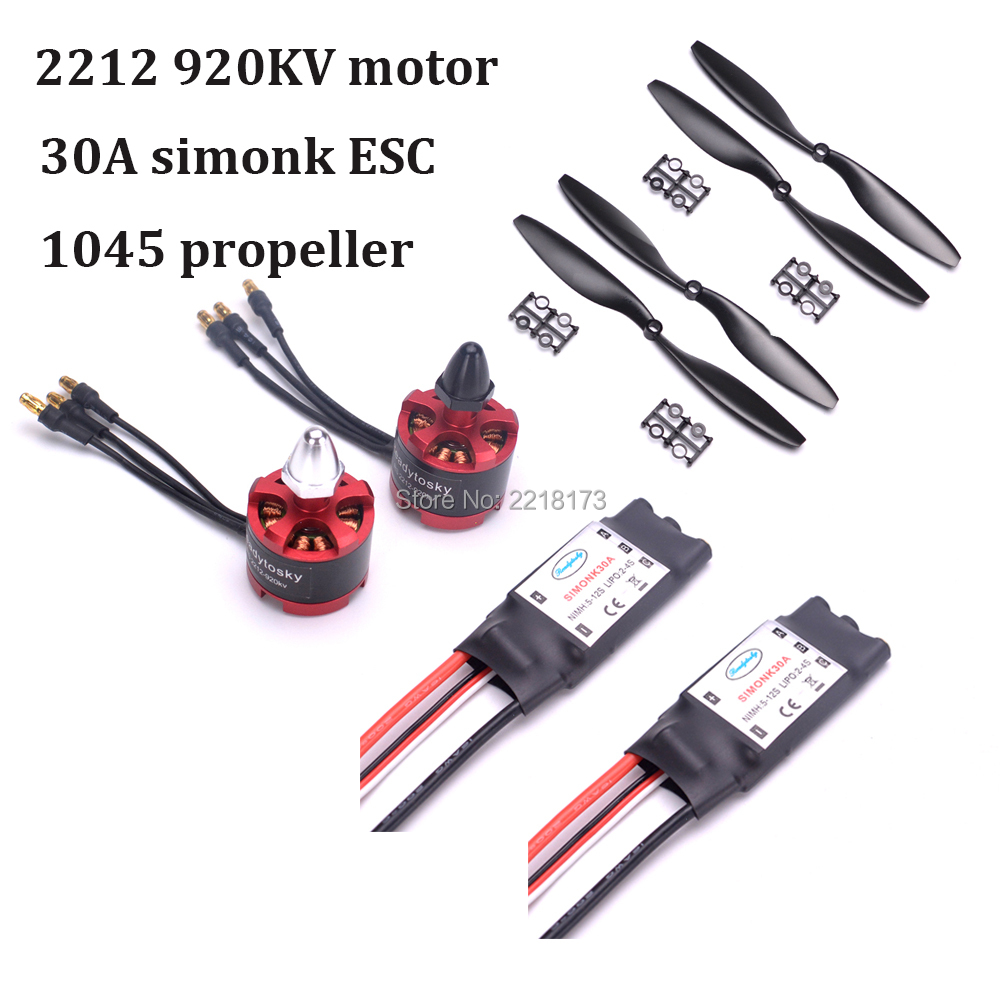 2212 920KV Brushless Motor CW / CCW & 30a simonk brushless ESC + 1045 Propeller for F450 F550 S550 X500 Quadcopter Frame 1 x 2212 920kv brushless cw motor silver