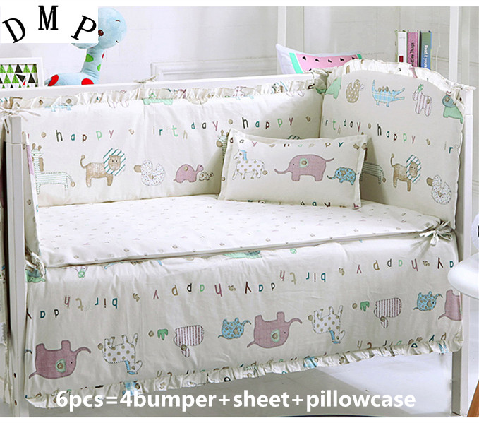 Promotion! 6PCS baby bedding sets baby crib set for boys ropa de cuna sheet ,(bumpers+sheet+pillow cover)