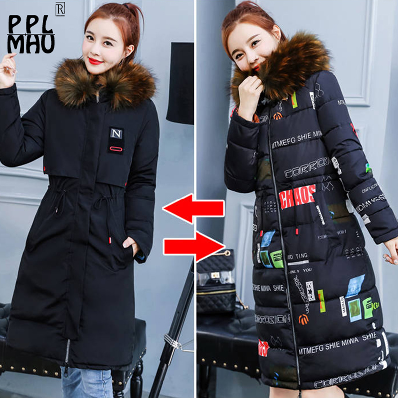2019 Fashion Winter Jacket Women Slim Fur Hooded Both Two Sides Wear Long   Parkas   Jacket Ladies Thick Warm Coat Plus Size M-XXXL
