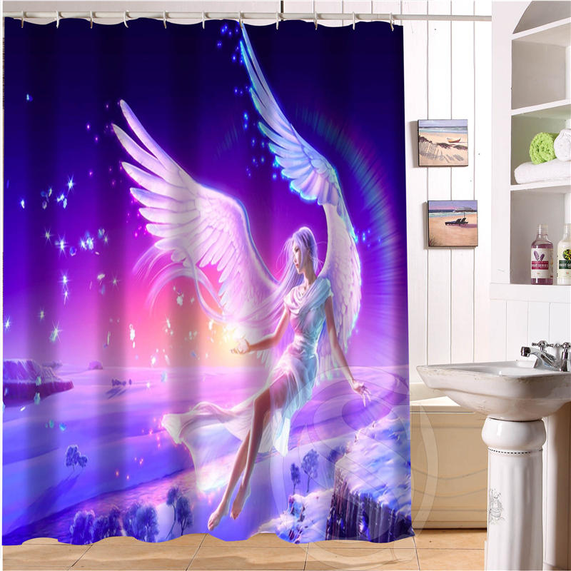 Elf Angel Retro Cartoon Custom Shower Curtain Fabric Bath Waterproof MORE SIZE SQ0515 33 In Curtains From Home Garden On Aliexpress