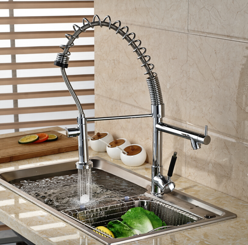 Kitchen Sink Pull Dow Spray Swivel Faucet Hot&Cold Water Mixer Tap Chrome Single Handle micoe pull style hot and cold water kitchen faucet mixer single handle single hole modern style chrome tap 360 swivel m hc103
