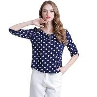 Fashion Summer T-shirt 2017 New three quarter sleeve Round neck T-shirts Women Wave point Zipper Loose Female T-shirt BTS K377A0