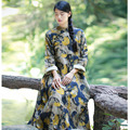 SERENELY 2017 Women Spring Autumn Dress Vintage Stand Collar Print Long-sleeve Loose Expansion Bottom Long Cotton Dress S228
