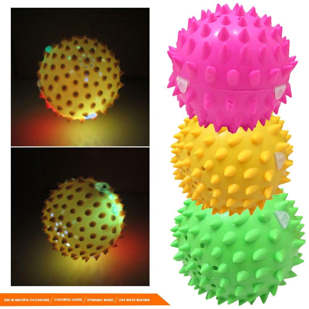 Мини креативный музыкальный мяч, танцевальный мяч в форме дуриана, обучающий Забавный развивающий погремушка, мигающий шар