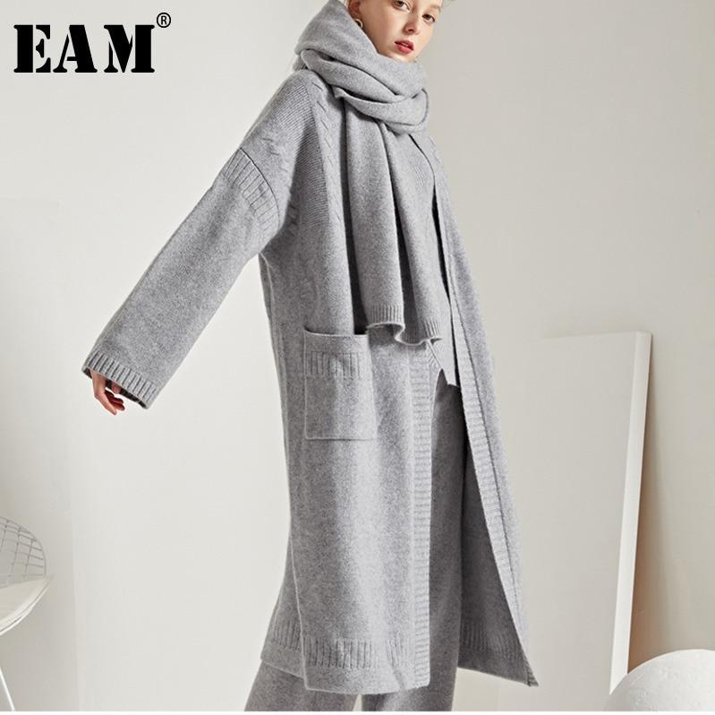 [EAM] 2018 осень зима женские стильные однотонные цвет карманов Длинные свободные теплые Вязание кардиганы для женщин Открыть стежка свитер