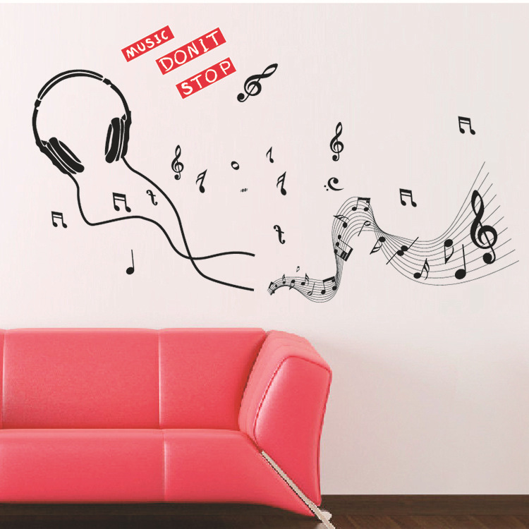 The New Headset Music Symbol Wallpaper Environmental Quality Pvc