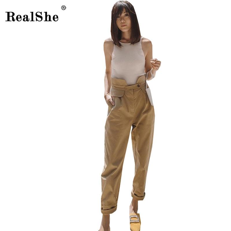 RealShe 2018 New Spring High Waist   Pants   Elegant Casual Beige   Pants   Streetwear Cargo   Pants   Women   Capris   Trousers Ladies   Pants