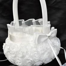 White Wedding Ceremony Party Love Case Satin Bowknot & Rose Flower Girl Basket For Flower Plant Home Weddding Decoration