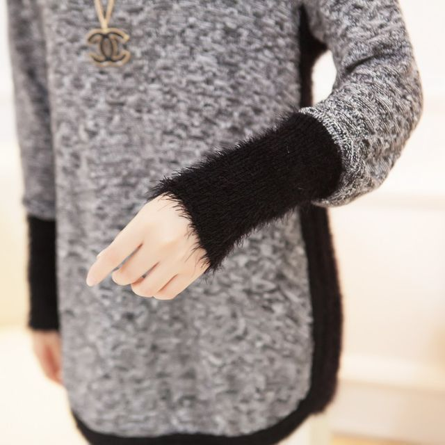 New Fashion Autumn  Brand Female Mohair Pullover Loose Sweater Knitted Long Sleeve O-neck Gray Pullovers Hot Sale Sweater 21