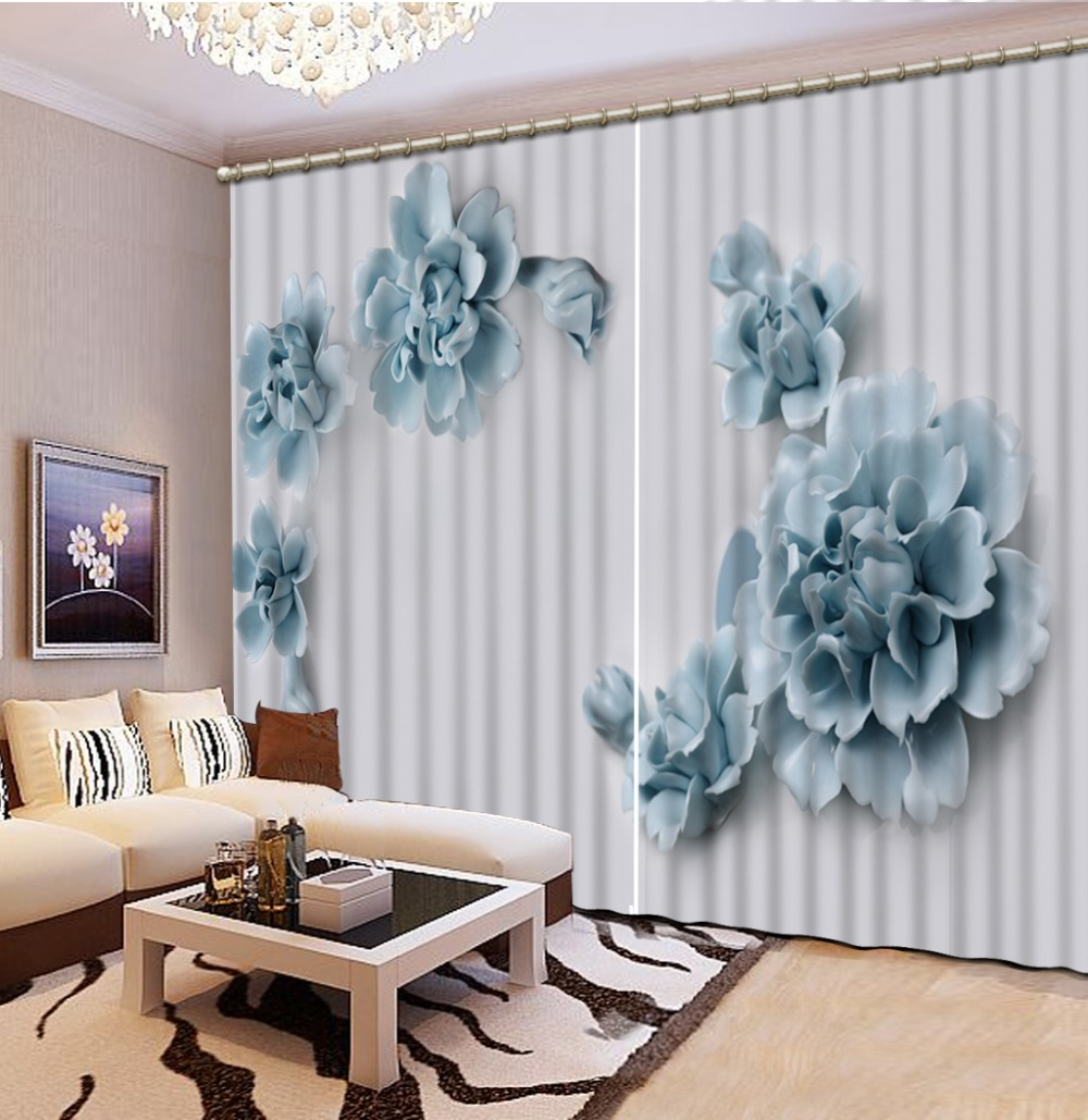 Luxury Blackout 3D Window Curtain For Living Room blue curtain flower curtains Luxury Blackout 3D Window Curtain For Living Room blue curtain flower curtains