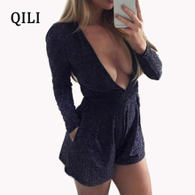 QILI Women Long Sleeve Silk Jumpsuit Rompers Sexy Deep v neck Pockets Pleated Romper Playsuits Elegant Fashion