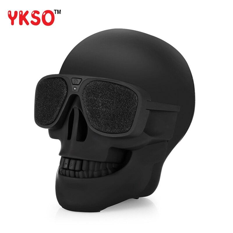YKSO Wireless Skull Bluetooth Speaker Bass Halloween Cartoon Gift Mini Skull Head Shape Portable Speaker For Mobile phone ufo shape portable mini rechargeable bluetooth v2 1 speaker black orange