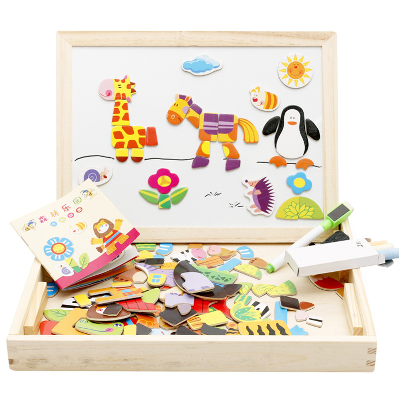 1Set Drawing Writing Board Magnetic Puzzle Double Easel Kid Wooden Toy Sketchpad Children Intelligence Education Development Toy