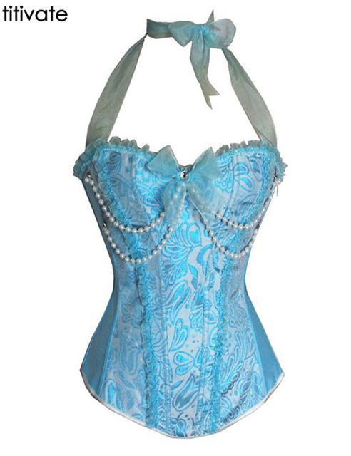 ENFEITAR Mais Novo Sexy Azul Do Casamento do Espartilho Cintura Cincher Látex De Borracha Bodysuit Senhora Shapewear Tops Corslets Para As Mulheres S-2XL